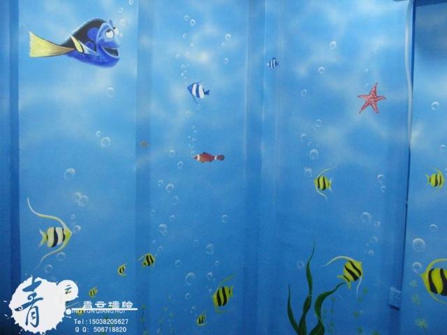 手绘婴儿游泳馆,宝贝第一站,青云&海底总动员