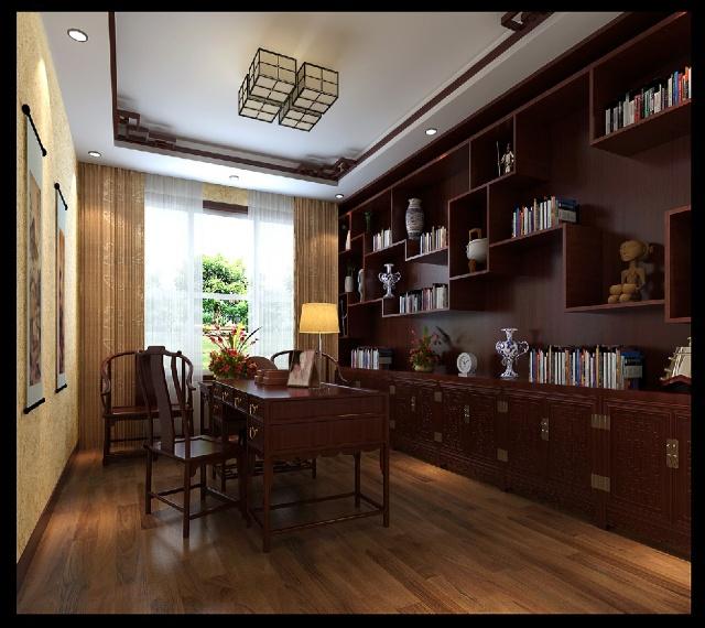 新中式风格装修效果图-书房