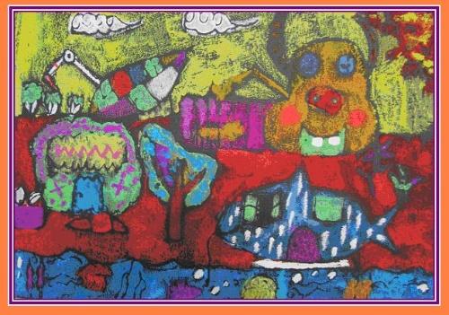 重建家园            儿童学画画
