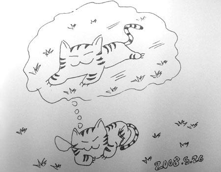 猫怎么画简笔画 可爱 睡觉