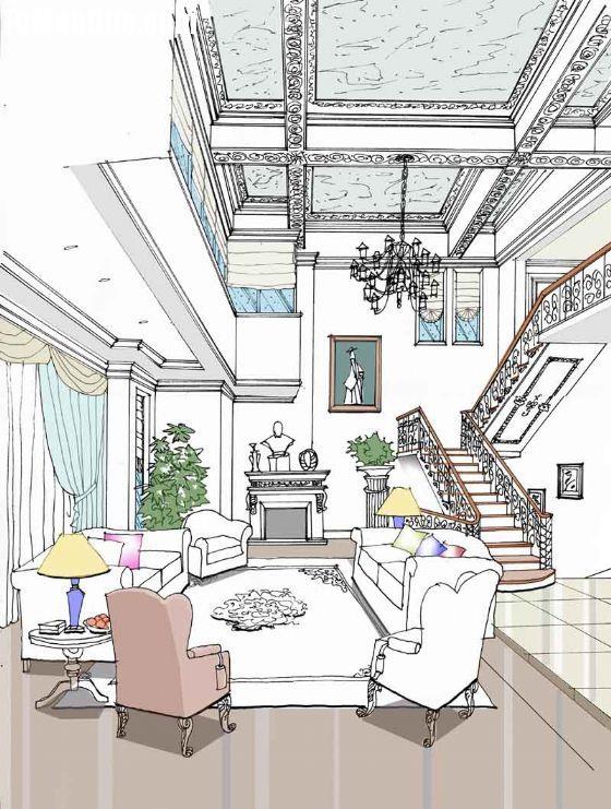 西山美庐-客厅; 办公设计手绘图; 西山美庐