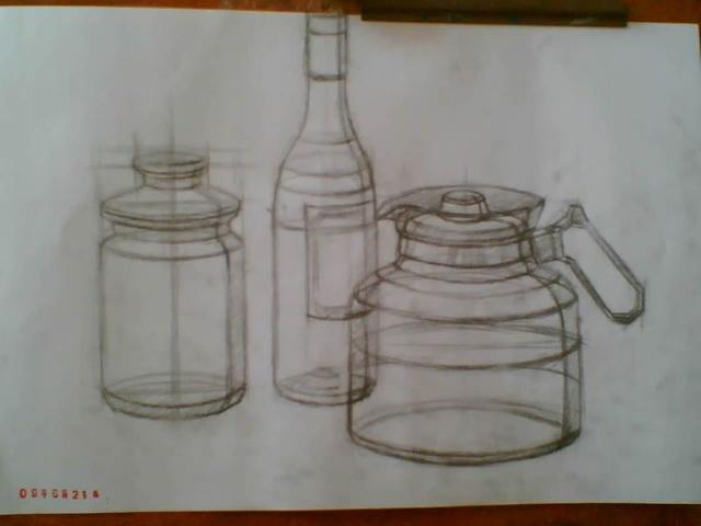 素描瓶子步骤图画法