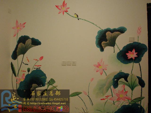 石家庄手绘墙画荷花图粮油所小区电视背景墙作品-手绘