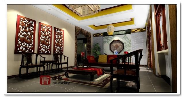 一楼 客厅,餐厅效果图      一楼书房从陈设的摆放,从色调及