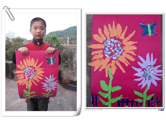 小学生彩纸手工制作花