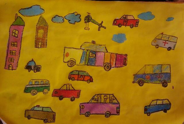儿童油画棒范画图,幼儿园小班美术范画