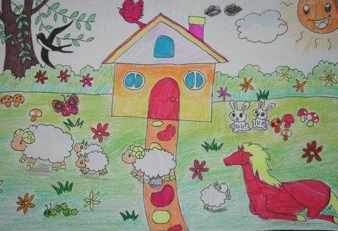 小班幼儿庆祝教师节最简单的蜡笔画