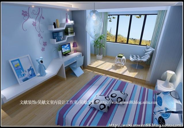 儿童房整体采用天蓝色乳胶漆的饰面,以及蓝色家具,使之一处更加年轻化