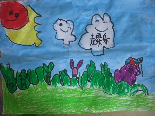 小班作品——《简笔画—兔子的蘑菇-2010年7月19日上午小班作品