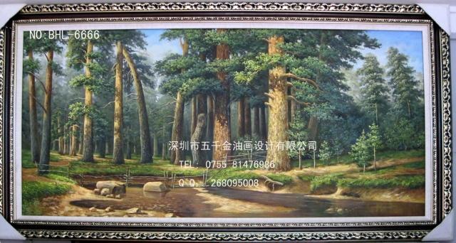 白桦林 橡树 森林 俄罗斯风景油画 纯手绘油画 大芬村
