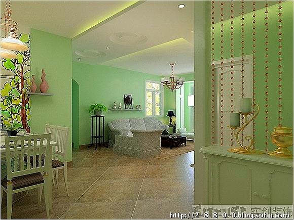 客厅欧式墙面淡绿色