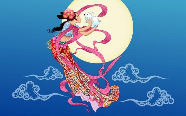 中秋节看月亮简笔画
