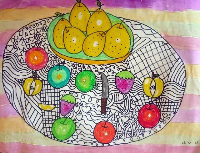 儿童画 线描水果