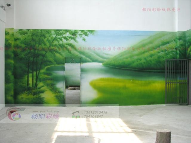 熊猫馆展厅手绘墙-山水壁画