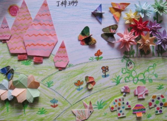 然后画上漂亮的背景,一幅美丽的折纸画就大功造成了.